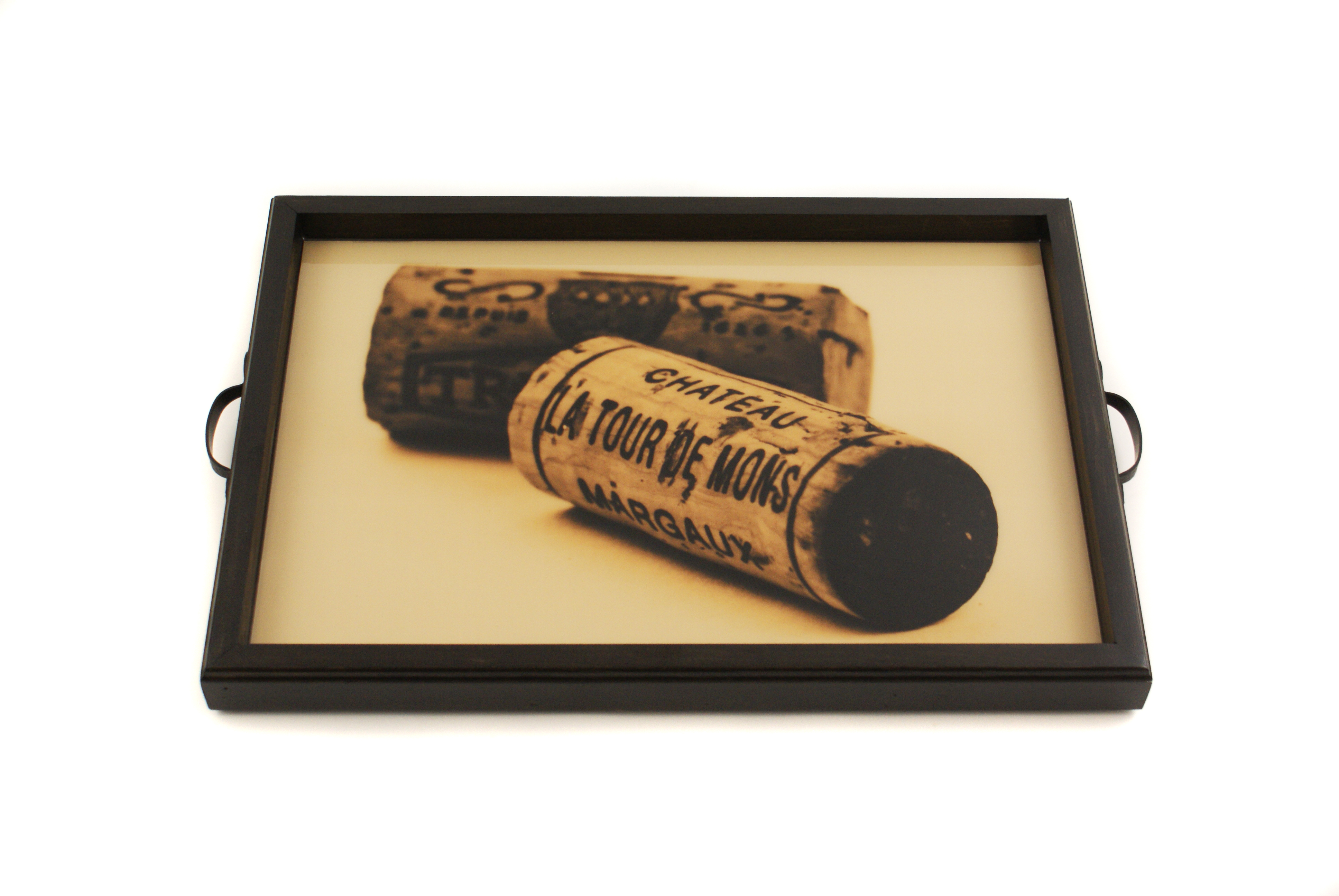 Sepia Wine Corks Tray+Wall Art in Black-Available in other colors ...